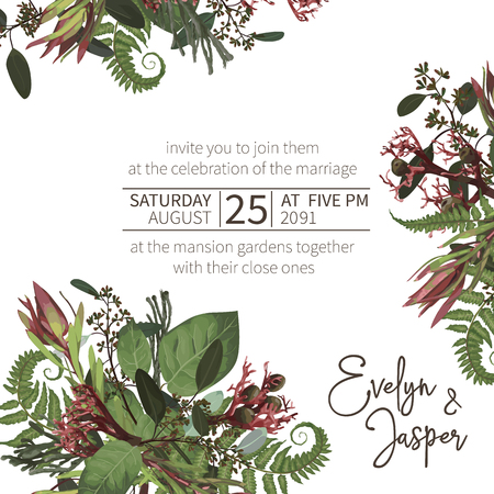 Wedding, watercolor seasonal flower card.Plants, leaves, branches, brunia, blooming eucalyptus, leucadendron, gaultheria, salal, jatropha vector design frame.Floral square composition.Isolated and editable