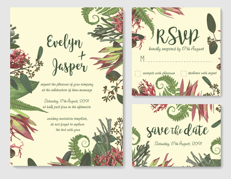 Set of vector wedding invitation, greeting card, save date. Frame of green leaves of Brunia, fern, eucalyptus, leucadendron, gaultheria, salal, jatropha. Watercolor, rustic style, banners, certificates