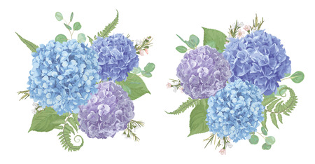 Set of wedding bouquets.Leaves, blooming branches eucalyptus, gaultheria, salal, chamaelaucium, fern.Blue, purple, flower of hydrangea.All elements are isolated and editable.Floral pastel style border  Illusztráció