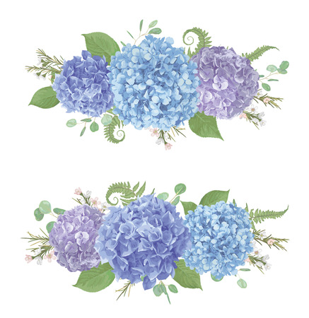 Set of wedding bouquets.Leaves, blooming branches eucalyptus, gaultheria, salal, chamaelaucium, fern.Blue, purple, flower of hydrangea.All elements are isolated and editable.Floral pastel style border