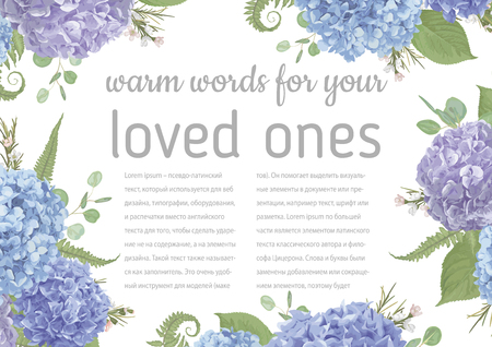 Wedding, watercolor card.Leaves, blooming branches eucalyptus, gaultheria, salal, chamaelaucium, seasonal fern.Blue, purple, of flower hydrangea.Vector.Floral horizontal composition.Isolated and editable Illustration
