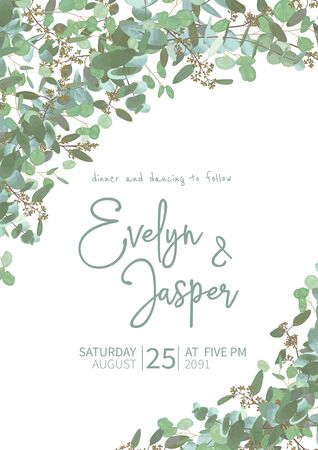 Greeting festive flyer, holiday card, vector. Elegant floral, greenery, semicircle collection. Bouquet of eucalyptus spiral, populus, robusta. Wedding invitation bouquet ?n vertical rectangle 일러스트