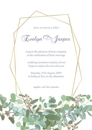 Greeting festive flyer, holiday card, vector. Elegant floral, greenery, semicircle collection. Bouquet of eucalyptus spiral, populus, robusta. Background grid with gold lines. Vertical rectangle