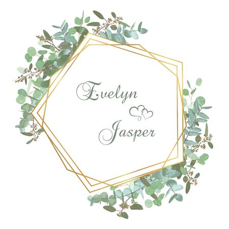 Greeting festive flyer, holiday card, vector. Elegant floral, greenery, gold collection. Bouquet of eucalyptus spiral, populus, robusta. Background grid with gold lines. Invitation square
