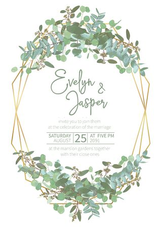 Greeting festive flyer, holiday card, vector. Elegant floral, greenery, gold collection. Bouquet of eucalyptus spiral, populus, robusta. Background grid with gold lines. Vertical rectangle 일러스트