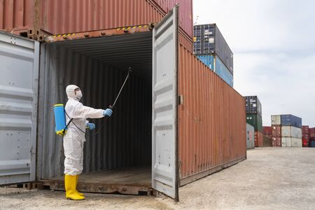 Disinfecting of storage container to prevent COVID-19 Imagens