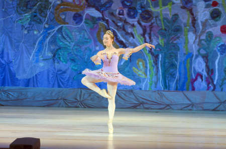 DNIPRO, UKRAINE - JUNE 26, 2016: Kira Tikhonov, age 15 years old, performs This eternal ballet taleat State Opera and Ballet Theatre.