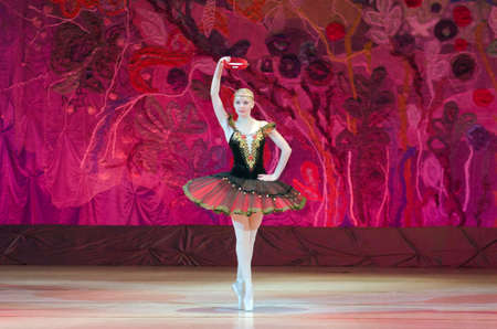 DNIPRO, UKRAINE - JUNE 26, 2016: Julia Zakharenko performs This eternal ballet tale at State Opera and Ballet Theatre.