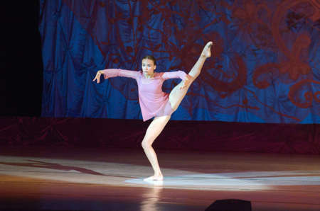 DNIPRO, UKRAINE - JUNE 26, 2016: Sofia Gatylo, age 15 years old, performs This eternal ballet tale at State Opera and Ballet Theatre.
