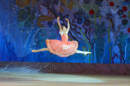 dnipro: DNIPRO, UKRAINE - JUNE 26, 2016: Sofia Gatylo, age 15 years old, performs This eternal ballet tale at State Opera and Ballet Theatre.