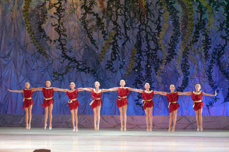 DNIPRO, UKRAINE - JUNE 26, 2016: Unidentified girls, ages 8-10  years old, perform This eternal ballet tale at State Opera and Ballet Theatre.