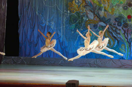 dnipro: DNIPRO, UKRAINE - JUNE 26, 2016: Unidentified girls, ages 14-15  years old, perform This eternal ballet tale at State Opera and Ballet Theatre.