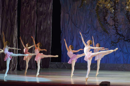 DNIPRO, UKRAINE - JUNE 26, 2016: Unidentified girls, ages 14-15  years old, perform This eternal ballet tale at State Opera and Ballet Theatre.