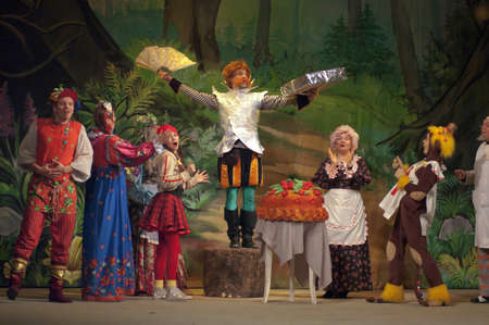 dreamland: DNIPROPETROVSK, UKRAINE - JANUARY 8, 2016: Incredible Adventures of Ksyusha in dreamland performed by members of the Dnipropetrovsk State Russian Drama Theatre.