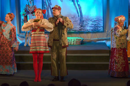 DNIPROPETROVSK, UKRAINE - MARCH  19, 2016: Disappearance of princess Fefelaperformed by members of the Dnipropetrovsk Youth Theatre Small Stage.