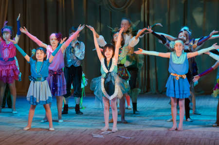 bravo: DNIPROPETROVSK, UKRAINE - MARCH 10, 2016: Unidentified children, ages 4-13 years old, perform Once in the city� at the State Palace of children and youth.