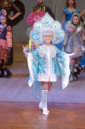 age 10: DNIPROPETROVSK, UKRAINE - FEBRUARY 14, 2016: Unidentified girl, age 10 years old, performs Winter at the at the concert hall.