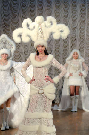parable: DNIPROPETROVSK, UKRAINE - FEBRUARY 21, 2016: Unidentified girls, ages 4-15 years old, perform Snow Rhapsody at the Art Centre. Editorial