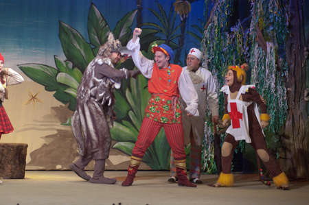 customary: DNIPROPETROVSK, UKRAINE - JANUARY 8, 2016: Incredible Adventures of Ksyusha in dreamland performed by members of the Dnipropetrovsk State Russian Drama Theatre.