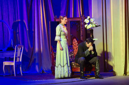 customary: DNIPRO, UKRAINE - JULY 2, 2016: For the sake of the family hearth performed by members of the Dnipropetrovsk State Russian Drama Theatre.
