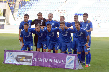 premier: DNIPRO, UKRAINE - JULY 31, 2016: Football Club Dnipro Team before the match of the Premier League FC Dnipro against FC Stal. Editorial
