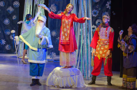 customary: DNIPROPETROVSK, UKRAINE - DECEMBER 25. 2015: Silver Fairy Tale performed by members of the Dnipropetrovsk Municipal Youth Theatre VERIM.