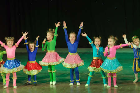 45 years old: DNIPROPETROVSK, UKRAINE - DECEMBER 24, 2015: Unidentified children, ages 4-5 years old, perform at the State Palace of children and youth.