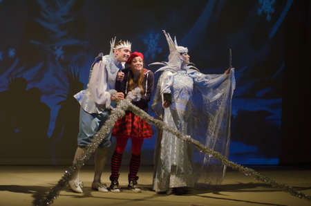 dreamland: DNIPROPETROVSK, UKRAINE - DECEMBER 19, 2015: Incredible Adventures of Ksyusha in dreamland performed by members of the Dnipropetrovsk State Russian Drama Theatre