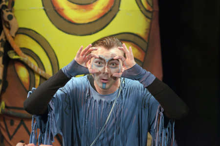 eyes open: DNIPROPETROVSK, UKRAINE - SEPTEMBER 26, 2015: Vladimir Shaposhnik - member of the Dnipropetrovsk Municipal Youth Theatre VERIM performs Why the hare is sleeping with his eyes open.