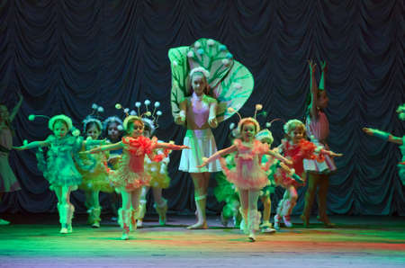 parable: DNIPROPETROVSK, UKRAINE - MARCH 27: Unidentified children, ages 4-12 years old, perform PUSHISTIKI  on March 27, 2015 in Dnipropetrovsk, Ukraine Editorial