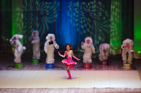 11 years: DNIPROPETROVSK, UKRAINE - FEBRUARY 8: Unidentified children, ages 8 -11 years old, perform CIRCUS on February 8, 2015 in Dnipropetrovsk, Ukraine