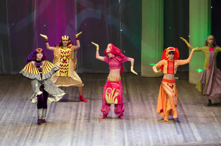 parable: DNIPROPETROVSK, UKRAINE - FEBRUARY 8: Unidentified children, ages 11-14 years old, perform COSTUMES EAST on February 8, 2015 in Dnipropetrovsk, Ukraine