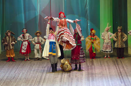 parable: DNIPROPETROVSK, UKRAINE - FEBRUARY 8: Unidentified children, ages 6 -15 years old, perform UKRAINIAN TALES on February 8, 2015 in Dnipropetrovsk, Ukraine Editorial