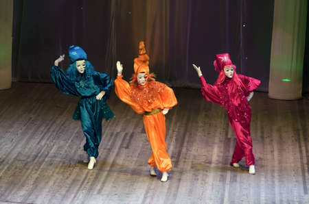 8   9 years: DNIPROPETROVSK, UKRAINE - FEBRUARY 8: Unidentified children, ages 9 -15 years old, perform VENICE on February 8, 2015 in Dnipropetrovsk, Ukraine Editorial