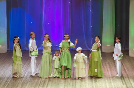 parable: DNIPROPETROVSK, UKRAINE - FEBRUARY 8: Unidentified children, ages 5 -14 years old, perform HOLIDAY Midsummer on February 8, 2015 in Dnipropetrovsk, Ukraine