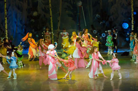 DNIPROPETROVSK, UKRAINE - DECEMBER 25: Unidentified children, ages 4-13 years old, perform PUSHISTIKI at the State Palace of children and youth on December 25, 2014 in Dnipropetrovsk, Ukraine