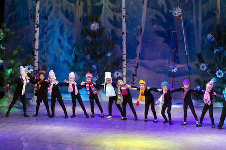 parable: DNIPROPETROVSK, UKRAINE - DECEMBER 25: Unidentified children, ages 4-6 years old, perform GNOMES at the State Palace of children and youth on December 25, 2014 in Dnipropetrovsk, Ukraine