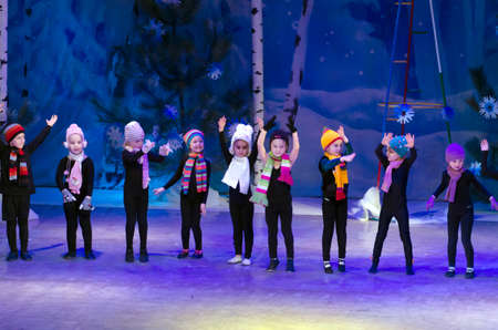 25 years old: DNIPROPETROVSK, UKRAINE - DECEMBER 25: Unidentified children, ages 4-6 years old, perform GNOMES at the State Palace of children and youth on December 25, 2014 in Dnipropetrovsk, Ukraine