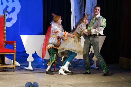puss: DNIPROPETROVSK, UKRAINE - DECEMBER 19: Members of the Dnipropetrovsk State Russian Drama Theatre perform PUSS IN BOOTS on December 19, 2014 in Dnipropetrovsk, Ukraine