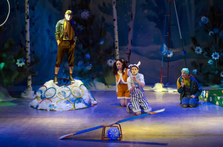 customary: DNIPROPETROVSK, UKRAINE - DECEMBER 28: Members of the Dnipropetrovsk Municipal Youth Theatre VERIM perform CHRISTMAS TALE on December 28, 2014 in Dnipropetrovsk, Ukraine