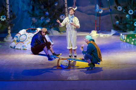 DNIPROPETROVSK, UKRAINE - DECEMBER 28: Members of the Dnipropetrovsk Municipal Youth Theatre VERIM perform CHRISTMAS TALE on December 28, 2014 in Dnipropetrovsk, Ukraine