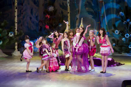 19 years old: DNIPROPETROVSK, UKRAINE - DECEMBER 19: Unidentified girls, ages 6-14 years old, perform MADEMOISELLE at the State Palace of children and youth on December 19, 2014 in Dnipropetrovsk, Ukraine Editorial