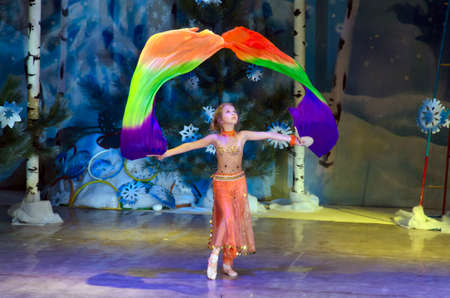 age 10: DNIPROPETROVSK, UKRAINE - DECEMBER 19: Unidentified girl, age 10 years old, performs ORIENTAL DANCE at the State Palace of children and youth on December 19, 2014 in Dnipropetrovsk, Ukraine