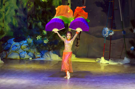 19 years old: DNIPROPETROVSK, UKRAINE - DECEMBER 19: Unidentified girl, age 10 years old, performs ORIENTAL DANCE at the State Palace of children and youth on December 19, 2014 in Dnipropetrovsk, Ukraine