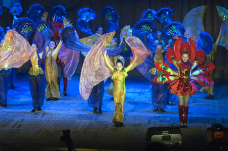 parable: DNIPROPETROVSK, UKRAINE - May 22: Unidentified girls, ages 7-14 years old, perform EASTERN TALE at the State Palace of children and youth on May 22, 2014 in Dnipropetrovsk, Ukraine Editorial