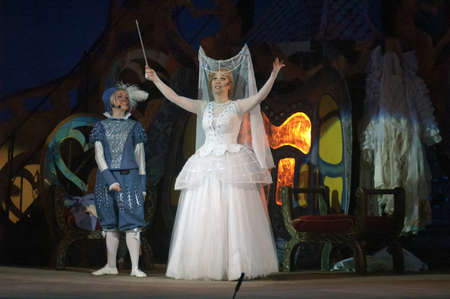 cinderella dress: DNEPROPETROVSK, UKRAINE - DECEMBER 30: Members of the Dnepropetrovsk State Opera and Ballet Theatre perform CINDERELLA on December 30, 2013 in Dnepropetrovsk, Ukraine