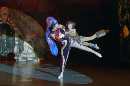 10 15 years: DNEPROPETROVSK, UKRAINE - FEBRUARY 23: Polina Yangel and Kirill Solovyev, ages 15 and 10 years old, perform musical spectacle Mowgli on February 23, 2013 in Dnepropetrovsk, Ukraine Editorial