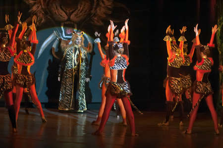 parable: DNEPROPETROVSK, UKRAINE - FEBRUARY 23: Unidentified children, ages 14-15 years old, perform musical spectacle Mowgli on February 23, 2013 in Dnepropetrovsk, Ukraine Editorial