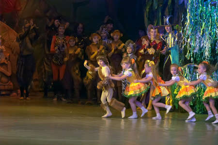parable: DNEPROPETROVSK, UKRAINE - FEBRUARY 23: Unidentified children, ages 7-15 years old, perform musical spectacle Mowgli on February 23, 2013 in Dnepropetrovsk, Ukraine