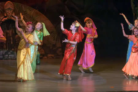 parable: DNEPROPETROVSK, UKRAINE - FEBRUARY 23: Unidentified girls, ages 9-10 years old, perform musical spectacle Mowgli on February 23, 2013 in Dnepropetrovsk, Ukraine Editorial